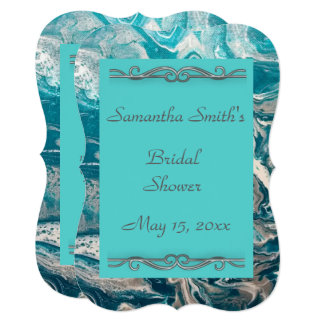 Turquoise Abstract Bridal Shower Invitation