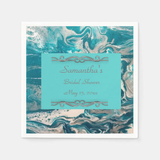 Turquoise Abstract Bridal Shower Napkins