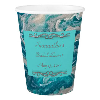 Turquoise Abstract Bridal Shower Paper Cups