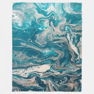 Turquoise Abstract Large Fleece Blanket