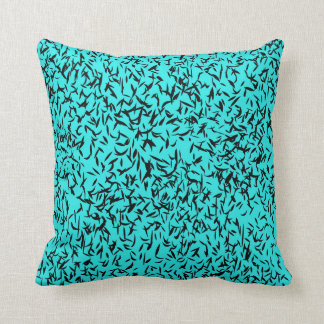 Turquoise abstract leaf cotton throw pillow