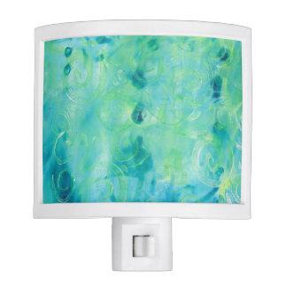 Turquoise  Abstract Monoprint Night Lamp Night Lites