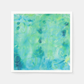 Turquoise  Abstract Monoprint Paper Napkin