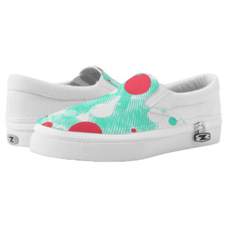Turquoise Abstract Print Slip on shoes