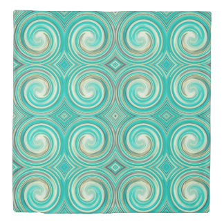 Turquoise Abstract Swirl Pattern Duvet Cover