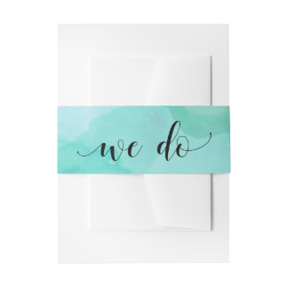 Turquoise Abstract Watercolor | We Do Invitation Belly Band