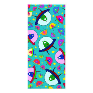 Turquoise alien spaceship pattern full color rack card