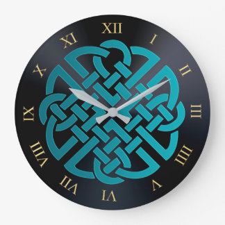 Turquoise  and Black Celtic Knot Clock