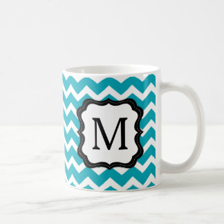 Turquoise and Black Chevron Monogram Coffee Mug