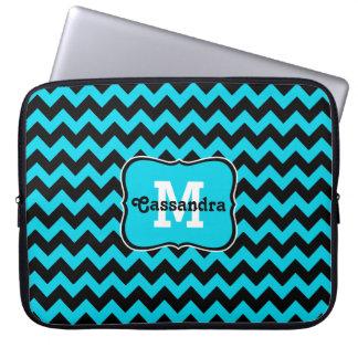 Turquoise and black chevron pattern monogram laptop sleeve