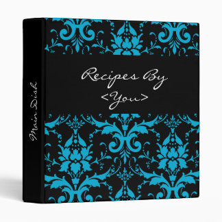 Turquoise and Black Damask Recipe Book Binder