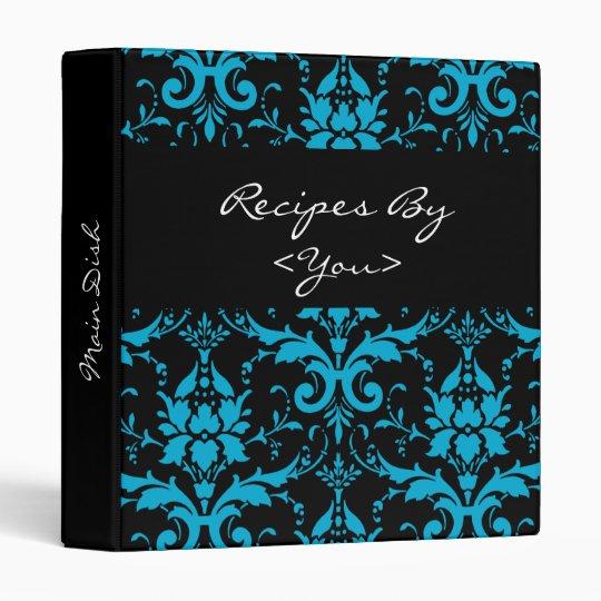 turquoise and black damask recipe book binder zazzleca