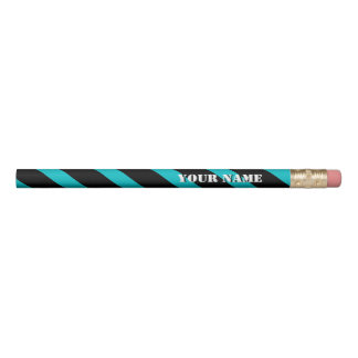 Turquoise and Black Diagonal Stripes Add Your Name Pencil