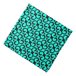 Turquoise and Black Elegant Pattern Bandana