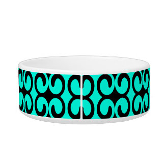 Turquoise and Black Elegant Pattern Bowl