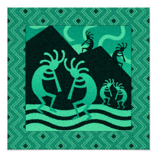 Turquoise And Black Kokopelli Southwest Wall Art