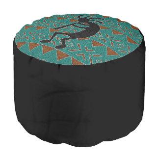 Turquoise And Black Kokopelli Southwestern Design Pouf