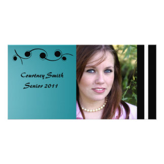 Turquoise and Black Personalized Senior Photo Card