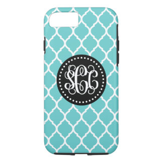 Turquoise and Black Quatrefoil Script Monogram iPhone 7 Case