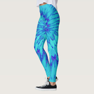 Turquoise and Blue with Magenta Spiral Tie Dye Leggings