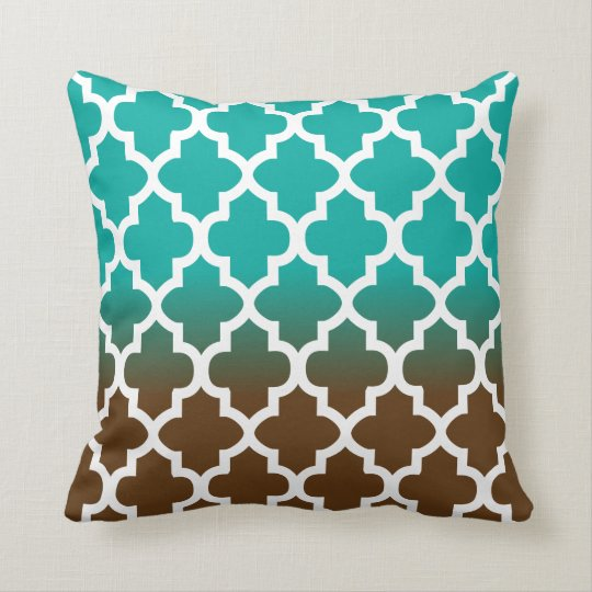 Turquoise and Brown Blend Quatrefoil Pattern Throw Pillow