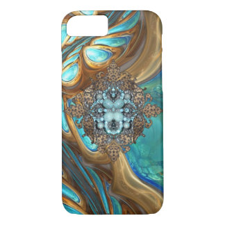 Turquoise and brown bling iPhone case