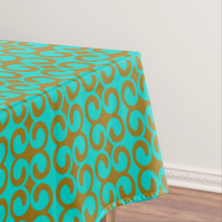 Turquoise and Brown Elegant Pattern Tablecloth