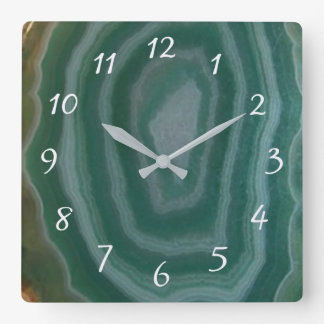 Turquoise and Brown Marble Faux Stone Gem Clock