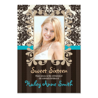 """Turquoise and Brown Vintage Damask Sweet Sixteen 5"""" X 7"""" Invitation Card"""
