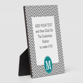 Turquoise and Charcoal Chevrons Custom Monogram Plaque