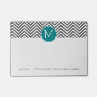 Turquoise and Charcoal Chevrons Custom Monogram Post-it Notes