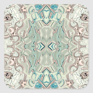Turquoise And Copper Blend Square Sticker