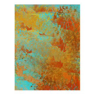 Turquoise and Copper-Red Abstract Postcard