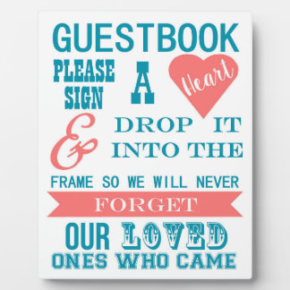 Turquoise and coral Guestbook sign- Sign a heart Plaque