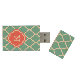 Turquoise and Coral Moroccan Quatrefoil Monogram Wood USB 2.0 Flash Drive