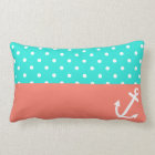 Turquoise and Coral Polka Dot Nautical Love Lumbar Pillow