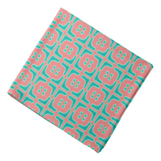 Turquoise and Coral Unique Pattern Bandana