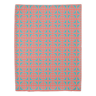 Turquoise and Coral Unique Pattern Duvet Cover