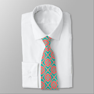 Turquoise and Coral Unique Pattern Tie