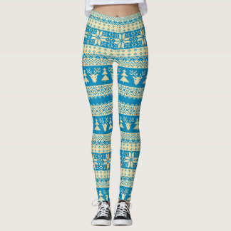 Turquoise and Cream Christmas Sweater Leggings