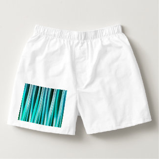 Turquoise and Cyan Ocean Stripy Lines Pattern Boxers