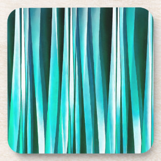 Turquoise and Cyan Ocean Stripy Lines Pattern Coaster