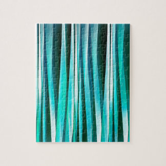 Turquoise and Cyan Ocean Stripy Lines Pattern Jigsaw Puzzle