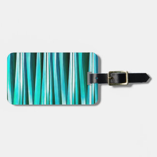 Turquoise and Cyan Ocean Stripy Lines Pattern Luggage Tag