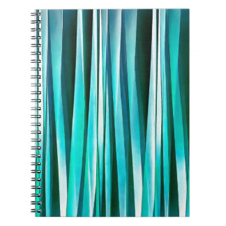 Turquoise and Cyan Ocean Stripy Lines Pattern Notebook
