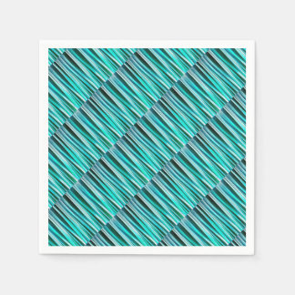 Turquoise and Cyan Ocean Stripy Lines Pattern Paper Napkin
