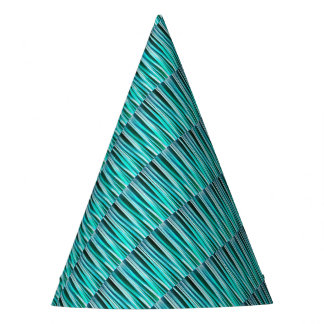Turquoise and Cyan Ocean Stripy Lines Pattern Party Hat