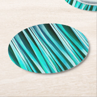 Turquoise and Cyan Ocean Stripy Lines Pattern Round Paper Coaster
