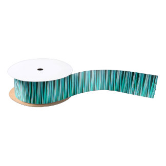 Turquoise and Cyan Ocean Stripy Lines Pattern Satin Ribbon