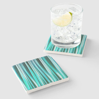 Turquoise and Cyan Ocean Stripy Lines Pattern Stone Coaster
